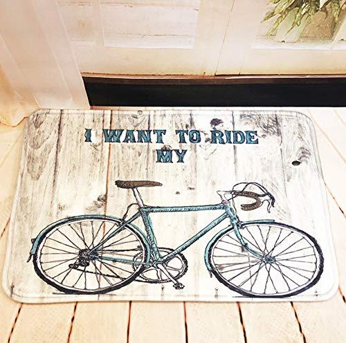 GjbCDWGLA anti-slip badmat deurmat, schets tekening blauw fiets wasbare badkamer matten, zachte microvezel douchegordijn 50 * 80 cm