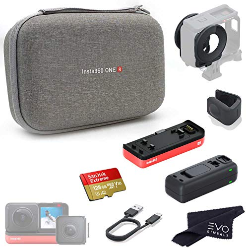 Insta360 ONE R Case & Accessory Bundle | Includes ONE R Carry Case, 360 Dual-Lens Guards, Lens Cap, Battery Base, Fast Charge Hub & 128GB Memory Card (6 Items)
