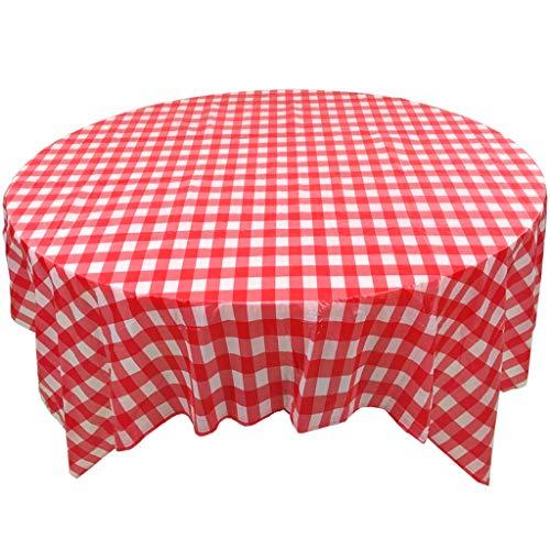 Jetables Plastique Nappe,Treillis Barbecue Nappe,Et d'autres Jours fériés Table Ronde Rouge Blanc & Vichy Damier Nappe de Table-Rouge (10 pièces) 160 * 160CM