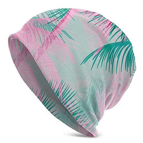AEMAPE Tema de Fiesta en la Playa Composición Vibrante con árboles Rosados y Verdes Gorro de Gorro Unisex Vintage Gorro de Punto Gorro de Calavera Pullover Cap Sombreros