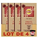Lipton Thé Noir Fruits Rouges 40 Capsules Compatibles Nespresso (Lot de 4x10 Capsules)