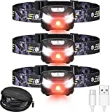 3 Pieces LED Rechargeable Headlamp Flashlights USB Rechargeable Headlamps Waterproof Head Lamp with Adjustable Headband Rechargeable Headlight for Camping Cycling Running, 5 Display Modes