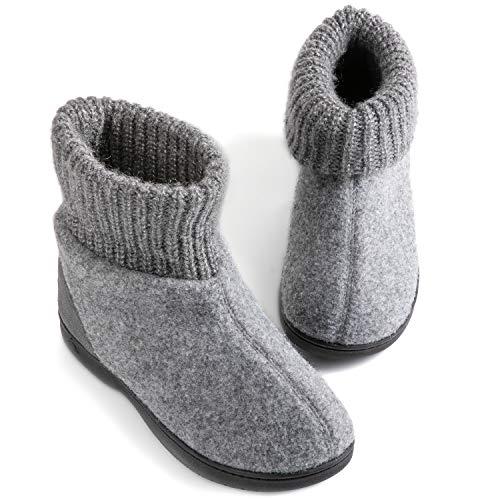 Zigzagger Women's Memory Foam Bootie Slippers, Cozy Winter House Shoes, Grey, 11 M US