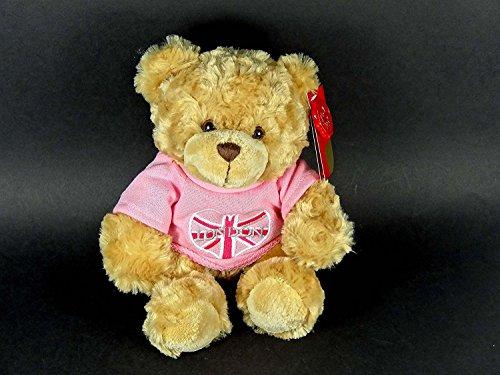 Teddy Bear - Teddie Wearing a Union Jack Heart with London Embroidery Pink Fleece (20 cm Sitting)