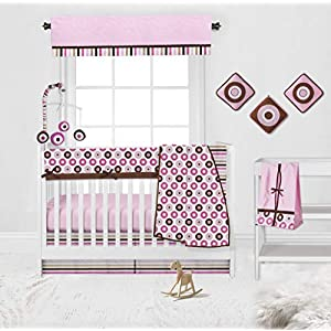 Bacati Mod Dots 10-Piece Nursery Décor Nursery-in-A-Bag Crib Bedding Set for Girls with Front Long Rail Guard Baby Cover Protector 100 Percent Cotton, Pink/Chocolate, Large (BIDSPC10CSG)