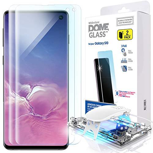 Galaxy S10 Protector de Pantalla del Teléfono, [Dome Glass] Vidrio Curvo Fácil de Instalar de Whitestone (2 Pieza)