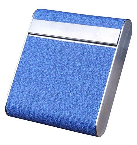 Aieoe AIEOE Zigarettenetui Zigarettendose Zigarettenbox aus Metall und Synthetik für 20 Zigaretten Blau
