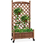 Best choice products 60in wood planter box & diamond lattice trellis, mobile outdoor raised garden bed for climbing… 8 diamond lattice: a 60-inch trellis is woven in a tight, diamond pattern to provide structural support and plenty of space for climbing plants planter box: fill the 10-inch deep box with your favorite potted plants and a water-resistant liner (not included) or a fresh soil bed thanks to built-in drainage holes optional wheels: a set of 4 included wheels can easily attach for added mobility and come with two locks for stability