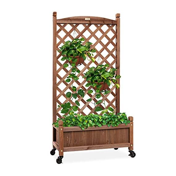 Best choice products 60in wood planter box & diamond lattice trellis, mobile outdoor raised garden bed for climbing… 1 diamond lattice: a 60-inch trellis is woven in a tight, diamond pattern to provide structural support and plenty of space for climbing plants planter box: fill the 10-inch deep box with your favorite potted plants and a water-resistant liner (not included) or a fresh soil bed thanks to built-in drainage holes optional wheels: a set of 4 included wheels can easily attach for added mobility and come with two locks for stability