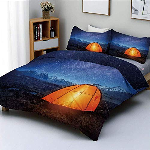 Jojun Duvet Cover Set,Camping Tent Under a Night Sky Full of Stars Holiday Adventure Exploring OutdoorsDecorative 3 Piece Bedding Set with 2 Pillow Sham,Blue Orange,Best Gift For Kid Easy Ca