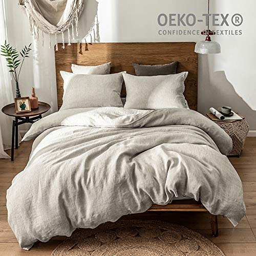 Simple&Opulence 100% Washed Linen Solid Coconut Button Linen Bedding Set with 1 Duvet Cover 2 Pillowcases (Full, Linen)