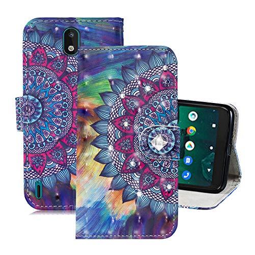 IMEIKONST Hülle für Nokia 1.3, 3D Bling Handyhülle Leder Kartenhalter Brieftasche Magnetisch Schutzhülle Ständer Kompatibel mit Nokia 1.3. Crystal Mandala CY