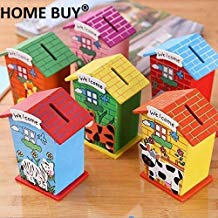 Home Buy Piggy Bank Wood House Animal Designs, Multi Color (Pack of 6)