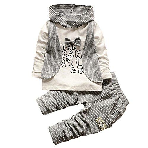 OSYARD Baby Kleidung Satz, Neugeboren Babykleidung Säugling Baby Junge Streifen Brief Drucken Kapuzenpullover Lange Hülse Tops Hose,Kleinkind Mode Outfits Hoodie Sweatshirt + Sweathosen Lang Pants