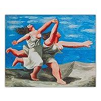 パブロ・ピカソポスター《浜辺を駆ける二人の女性》キャンバスアートパネルプリントキュービズム油絵レトロな絵ホームルーム壁の装飾アートパネルワーク50x60cmフレームなし