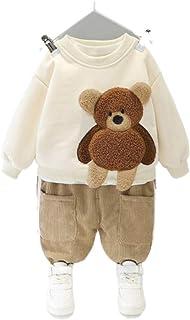 طفل رضيع أطفال أزياء الخريف الشتاء الطفل الأولاد الملابس مجموعة الدب طباعة سترة دافئة للأطفال