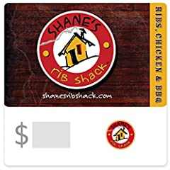 Redeemable for food, beverage, and merchandise only. May be redeemed at participating locations. Valid in-store only. Not redeemable at the Shane's Rib Shack Online Store. Must print out card number to give to cashier upon redemption No returns and n...