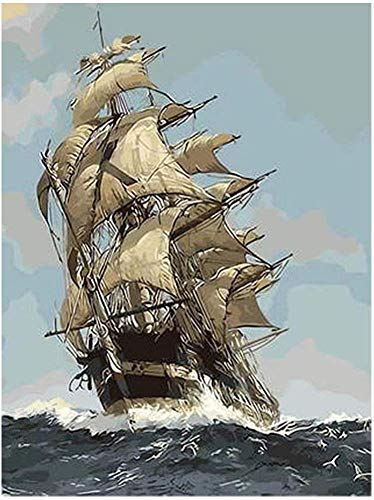 LPRTALK DIY 5D Diamond Painting Kits for Adults Full Round Drill Sailing Ship Diamond Painting Rhinestone Embroidery Pictures Cross Stitch Arts Crafts for Living Room Home Wall Decor 35x45cm