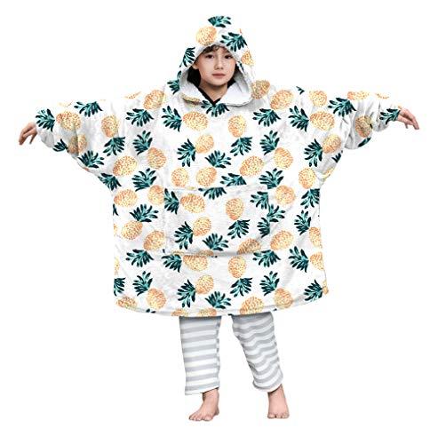 Kids4ever Übergroße Hoodie Decke Kinder Jungen Mädchen Oversized Comfy 3D Gedruckt Ananas Sherpa Hoodie Warme Decke Pullover Sweatshirt mit Tasche für 4-14 Jahre