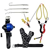 SinoArt Powerful Slingshot Bow Fishing Set Reel Hunting Catapult Steel Broadheads Darts Protect Wristband Left Hand Guard