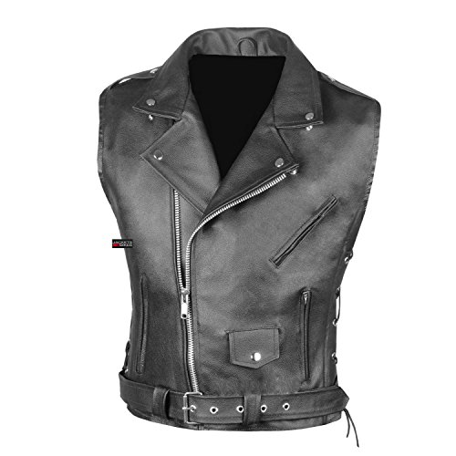 Men's Classic Leather Motorcycle Biker Concealed Carry Side Laces Vest Black L