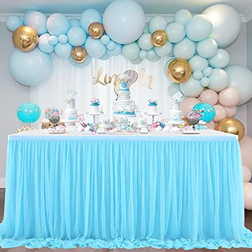 NSSONBEN Falda de mesa de tul azul para decoración de mesa para baby shower, niñas, bodas, cumpleaños, cumpleaños infantiles, comuniones (azul, 3 yards)