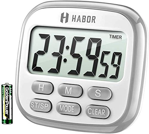 Habor Kitchen Timer, 24-Hours Digital Timer [Multifunctional] with Clock for Cooking, Loud Alarm & Strong Magnet, Count-Up & Count Down for Kitchen Baking Sports Games Office Study (Battery Included)