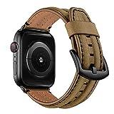 Pulsera de piel compatible con iWatch Series SE 6 5 4 3 2 1 para hombre y mujer, correa de repuesto de cuero original, 38 mm, 40 mm, 42 mm, 44 mm, para Apple Watch (marrón, 42 mm, 44 mm)