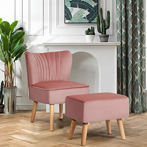 CASART Velvet Occasional Chair, Fabric Upholstered Wing Back Accent Chair with Footstool, Lounge Sofa Fireside Chair for Bedroom, Living Room and Office (Pink)