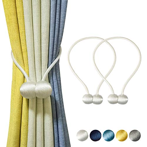 TmppDeco Magnetic Curtain Tiebacks - 2 Pack Curtain Holdbacks Strong Magnetic Curtain Holdbacks, Decorative Window Drape Twist Curtain Ropes for Home and Office (White)