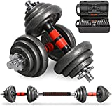 LEADNOVO Cast Iron Adjustable Dumbbells Set Hand Weight with Solid Dumbbell Handles Changed into Barbell, UP to 20kg Free Weight Perfect for Bodybuilding Fitness Weight Lifting Training Home Gym