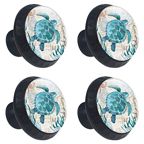 4 Pcs 35mm Cabinet Knobs Sea Turtle Ocean Creature Landscape Round Furniture Drawer Handles Dresser Cupboard Pulls with Screws for Home, Kitchen, Bathroom (1-3/8 Inches)
