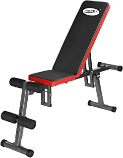 Genki Adjustable Weight Bench Fitness FID Bench 150KG Weight Capacity Home Gym Fitness Equipment Exercise Black & Red