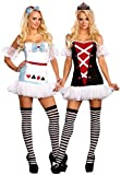 Dreamgirl Women's Reversible Alice In Wonderland/Queen Of Hearts Costume, Wht/Blk/Red, Small
