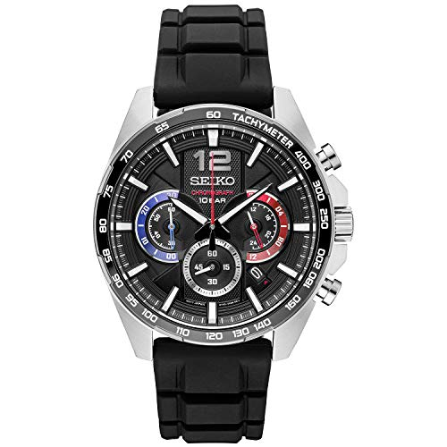 Men's Stainless Steel Japanese Quartz Silicone Strap, Black, Casual Watch (Model: ) - Seiko SSB347