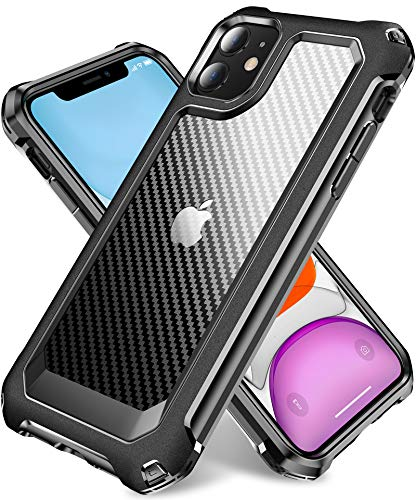 """iPhone 11 Case with [ Screen Protector Tempered Glass x2Pack] SUPBEC Protective Phone Cover with Silicone PC+TPU Shockproof Rubber Heavy Duty Case for iPhone 11 Cases-6.1""""-Clear Black"""