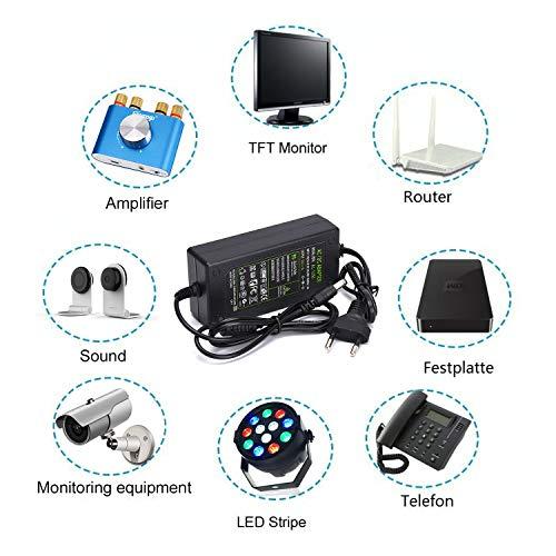 12V 5A Netzteil Adapter, AC 100-240V bis DC 12 Volt 5 Amp 60W Stromversorgung für LED Lichtstreifen Monitore Fernseher DVD TVs Verstärker Kamerasystem - Euro Stecker 5,5 * 2,5/ 2,1mm
