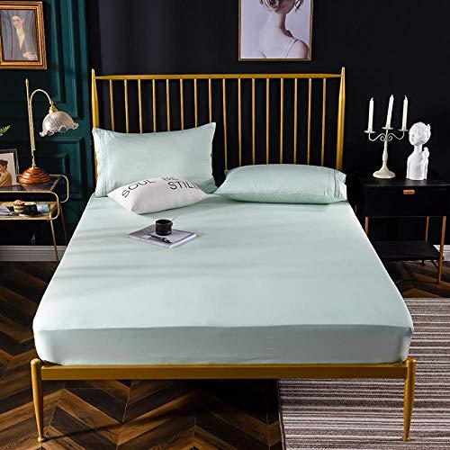 XGguo Protector de colchón de bambú Funda de colchón y Ajustable Sábana de Cama de Terciopelo Guard-Mint Green_180 * 200cm
