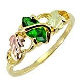 Lab Created Emerald Marquise Wrap Ring, 10k Yellow Gold, 12k Pink and Green Gold Black Hills Gold Motif, Size 8