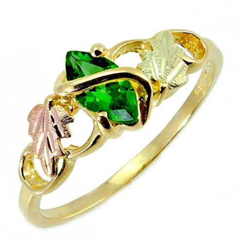 Lab Created Emerald Marquise Wrap Ring, 10k Yellow Gold, 12k Pink and Green Gold Black Hills Gold Motif, Size 8.5