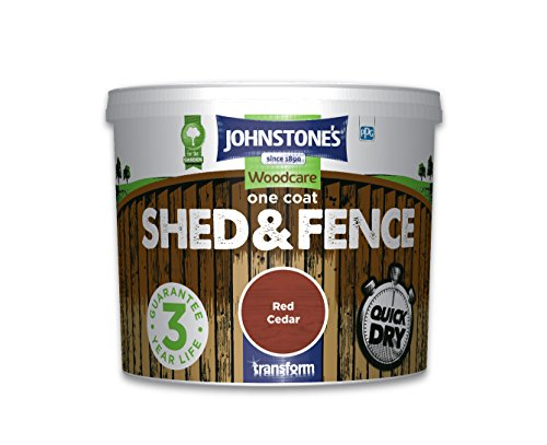 Johnstone's 386169 Woodcare One Coat Shed and Fence, Red Cedar, 5 Litre
