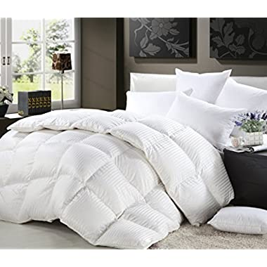 LUXURIOUS Full / Queen Size Siberian Goose Down Comforter All-Season Duvet Insert, Premium Baffle Box, 1200 Thread Count 100% Egyptian Cotton, 750+ Fill Power, 50 oz, White Damask Stripe