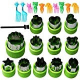 Vegetable Fruit Cutter Shapes Set,12PCS Stainless Steel Vegetable Cutters for Kids Mnini Cookie Mould 12 in 1 with 10 Fruit Picks and 1 Mini Pastry Brush