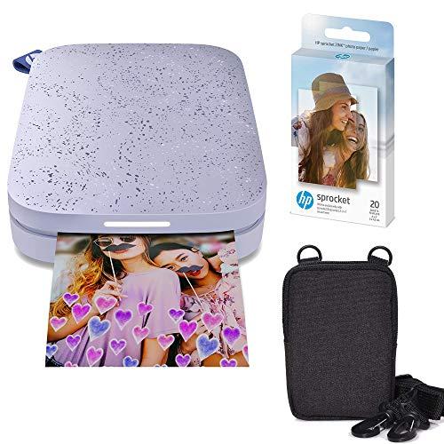 HP Sprocket Impresora fotográfica instantánea portátil de 2x3 Pulgadas (Morado) Paquete de Papel Zink