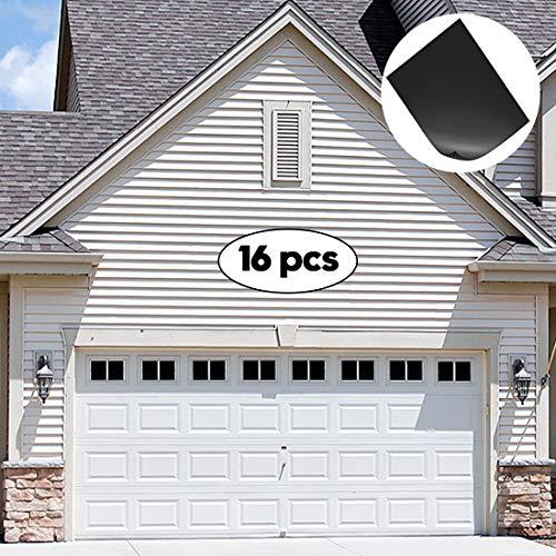 ToLanbbt Magnetic Garage Door Windows Hardware Faux PVC Fake Decorative Window Decals Kits for one Single Car Metallic Garage Panels 16PCS (5.9'x 3.93')