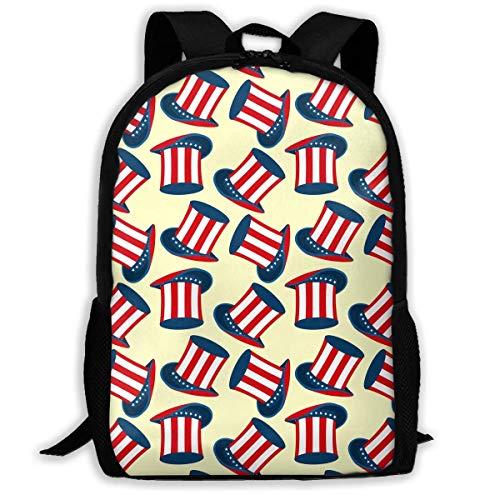 ADGBag Patriots Uncle Sam Hat Pattern Fashion Outdoor Shoulders Bag Durable Travel Camping for Kids Backpacks Shoulder Bag Book Scholl Travel Backpack Sac à Dos pour Enfants