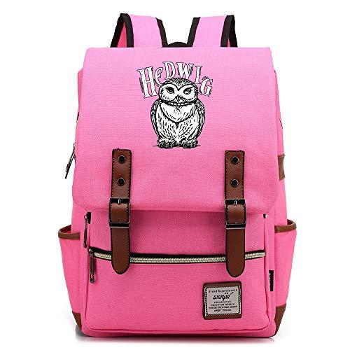 Hedwig Backpack,Hogwarts College Potter Rucksack, Casual Fashion Student Bag,Gold Zipper Medium Bright Pink