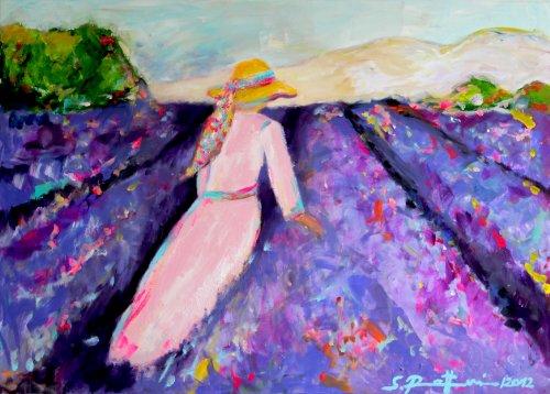 """""""LAVANDE"""" Original Kunst – Leinwandbild – Lavendelfeld 140 x 100 cm"""