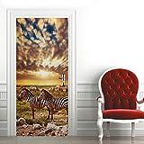3D Mural para Puerta 88X200Cm Autoadhesivo Impermeable Papel Pintado Puerta para Sala de Estar Baño Cocina Extraíble Vinilo Adhesivo de Pared,Decoración del Hogar - Cebra en La Puesta de Sol