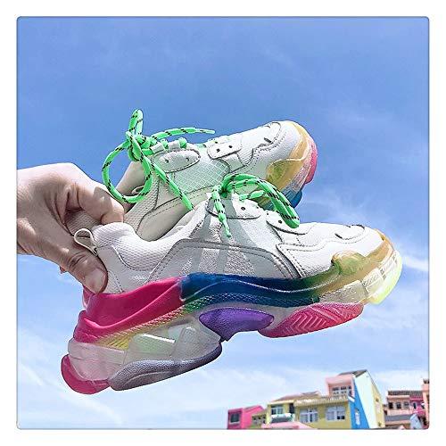 Aqiong Zapatos de Mujer otoño Inferior Grueso Transparente del Arco Iris Mollete Inferior Moda Malla Transpirable Zapatilla de Deporte Mujer Calzado Casual Calzado Deportivo al Aire Libre